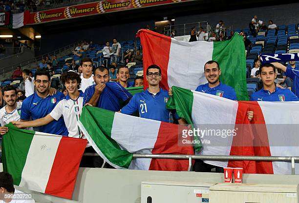 Italy fan prior to the FIFA 2018 World Cup Qualifier between Israel and Italy at Itztadion Sammy Ofer on September 5 2016 in Haifa Israel
