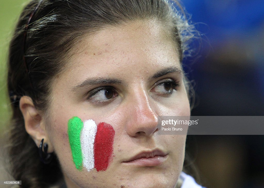 Italy fan shows her dejection during the FIVB World League Final Six semifinal match between Italy and Brazil at Mandela Forum on July 19, 2014 in Florence, Italy.