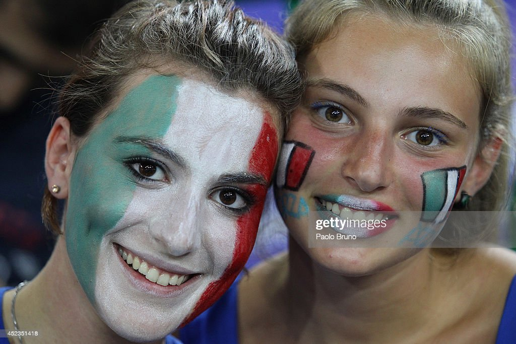 Italy fans celebrate during the FIVB World League Final Six match between Australia and Italy at Mandela Forum on July 18, 2014 in Florence, Italy.