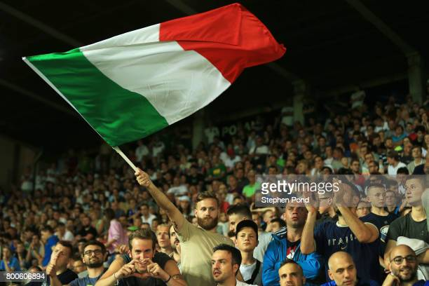 Italy fans celebrate victory after the 2017 UEFA European Under21 Championship Group C match between Italy and Germany at Stadion Cracovia on June 24...