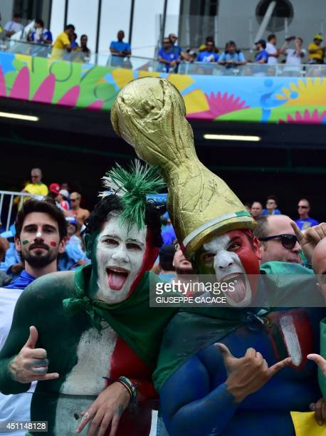 Italy fans cheer their team prior to the Group D football match between Italy and Uruguay at the Dunas Arena in Natal during the 2014 FIFA World Cup...