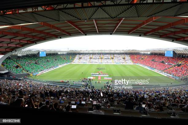 Italy fans show their support before the FIFA 2018 World Cup Qualifier between Italy and Liechtenstein at Stadio Friuli on June 11 2017 in Udine Italy