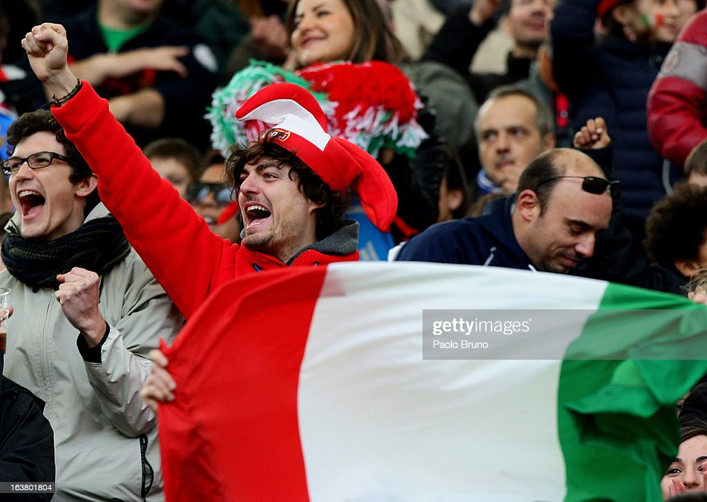 Italy fans show their support during the RBS Six Nations match between Italy and Ireland at Stadio Olimpico on March 16, 2013 in Rome, Italy.