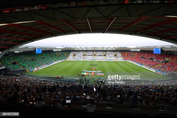 Italy fans shows their support before the FIFA 2018 World Cup Qualifier between Italy and Liechtenstein at Stadio Friuli on June 11 2017 in Udine...