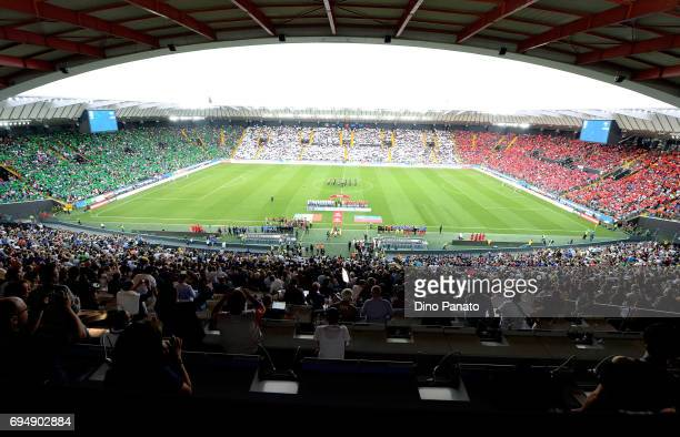 Italy fans shows theor support before the FIFA 2018 World Cup Qualifier between Italy and Liechtenstein at Stadio Friuli on June 11 2017 in Udine...