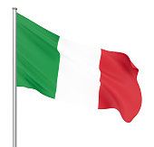 Italy flag blowing in the wind. Background texture. 3d rendering, wave.