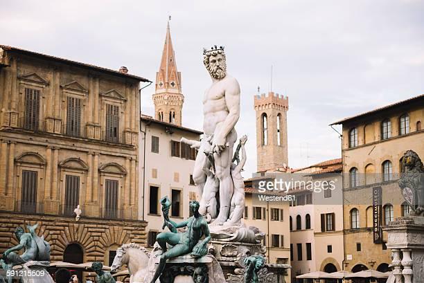 Italy, Florence, The Fountain of Neptune at Piazza della Signoria in front of the Palazzo Vecchio