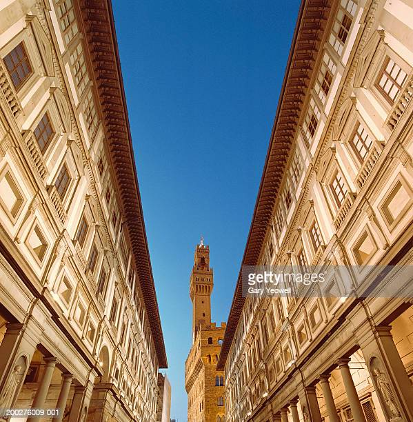 Italy, Florence, view of Palazzo Vecchio from Uffizi Gallery courtyard