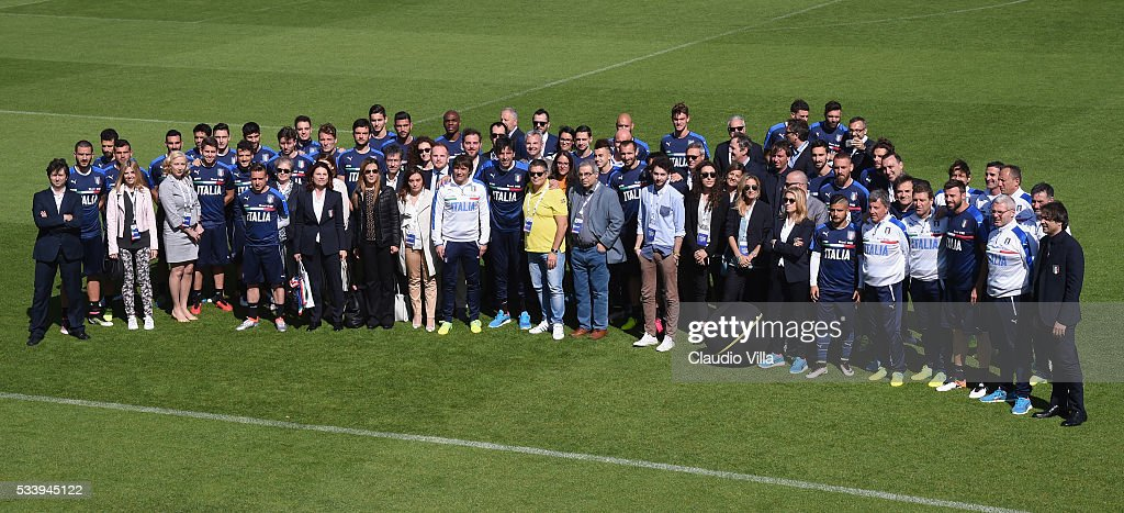 Italy football players pose with sponsor at Coverciano on May 24, 2016 in Florence, Italy.