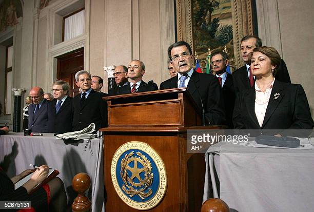 Former prime minister and leader of the centreleft Union opposition Romano Prodi gives a press conference at the Quirinale Palace 21 April 2005 in...