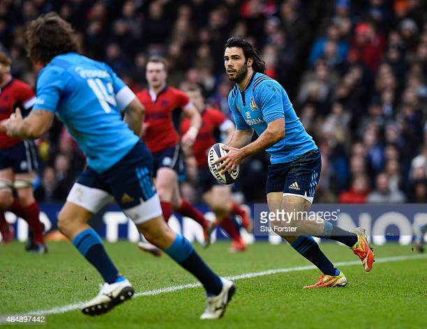 Italy full back Luke McLean in action during the RBS Six Nations match between Scotland and Italy at Murrayfield Stadium on February 28 2015 in...