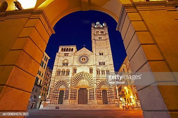Italy, Genoa, San Lorenzo Cathedral at night, low angle view