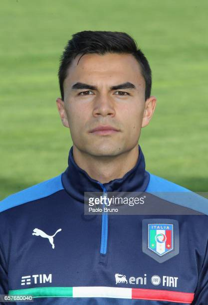 Italy goalkeeper Emil Audero poses during the Italy U21 training session on March 25 2017 in Rome Italy
