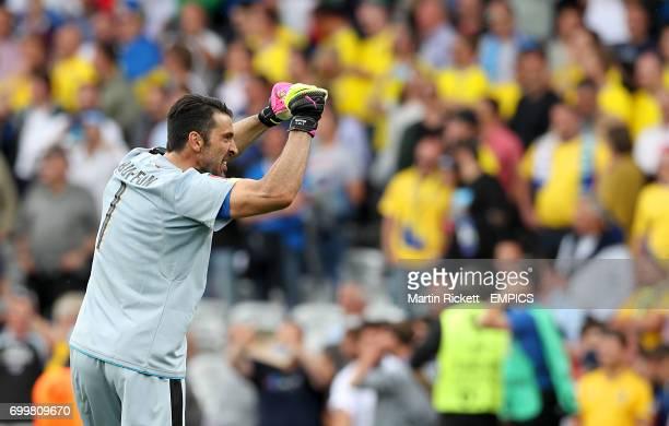 Italy goalkeeper Gianluigi Buffon celebrates after the final whistle