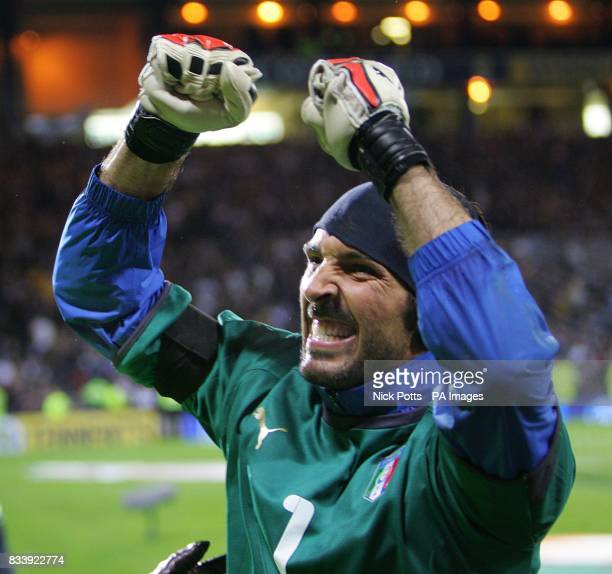 Italy goalkeeper Gianluigi Buffon celebrates victory after the final whistle