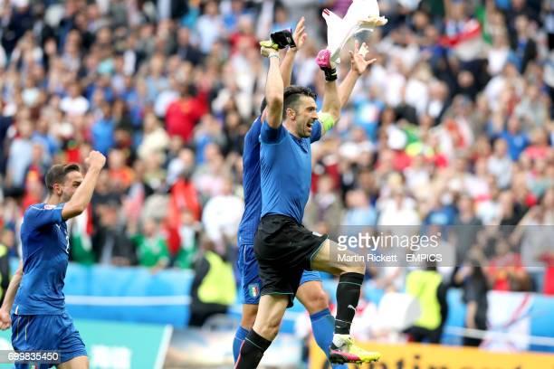 Italy goalkeeper Gianluigi Buffon celebrates victory after the match