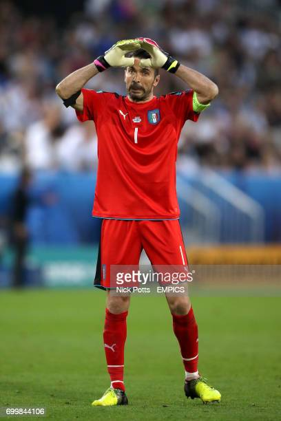 Italy goalkeeper Gianluigi Buffon reacts to a missed chance for his side