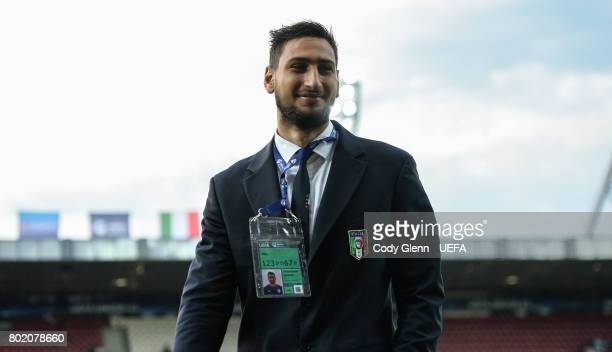 Italy goalkeeper Gianluigi Donnarumma walks the pitch before their UEFA European Under21 Championship 2017 semifinal match against Spain on June 27...
