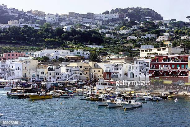 Italy, Gulf of Naples, Capri, View of harbour Marina Grande