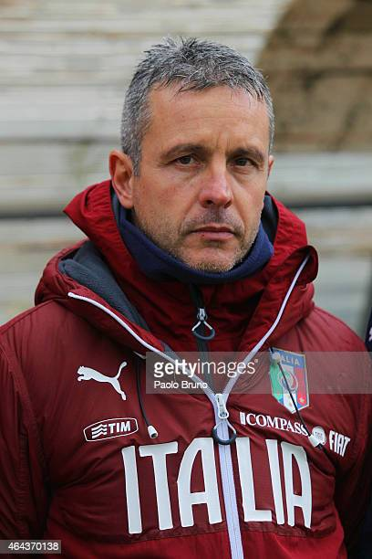 Italy head coach Alessandro Pane looks on during the international friendly match between Italy U19 and Georgia U19 on February 25 2015 in Genzano di...
