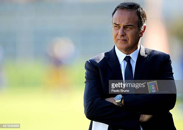 Italy head coach Antonio Cabrini looks on during the FIFA Women's World Cup Qualifier match between Italy and Ukraine at Stadio Centro d'Italia...