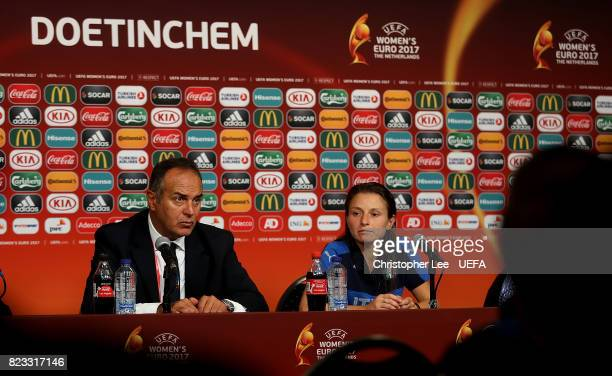 Italy Head Coach Antonio Cabrini speaks to the media during a press conference following the UEFA Women's Euro 2017 Group B match between Sweden and...