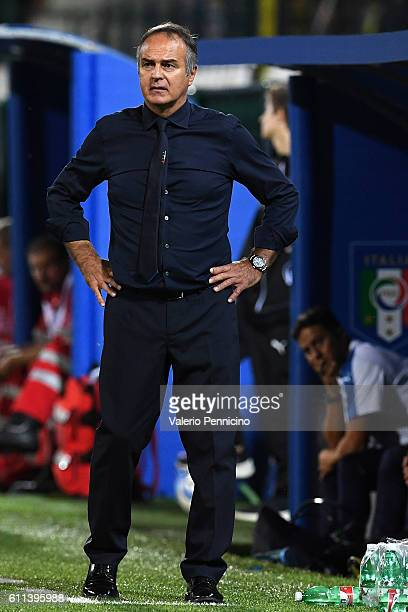 Italy head coach Antonio Cabrini watches the action during the UEFA Women's Euro 2017 Qualifier Group 6 match between Italy and Czech Republic at...