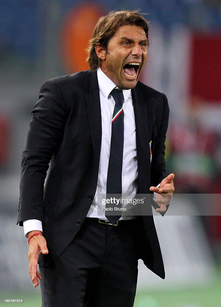 Italy head coach <a gi-track='captionPersonalityLinkClicked' href=/galleries/search?phrase=Antonio+Conte&family=editorial&specificpeople=2379002 ng-click='$event.stopPropagation()'>Antonio Conte</a> reacts during the UEFA EURO 2016 Group H Qualifier match between Italy and Norway at Stadio Olimpico on October 13, 2015 in Rome, Italy.