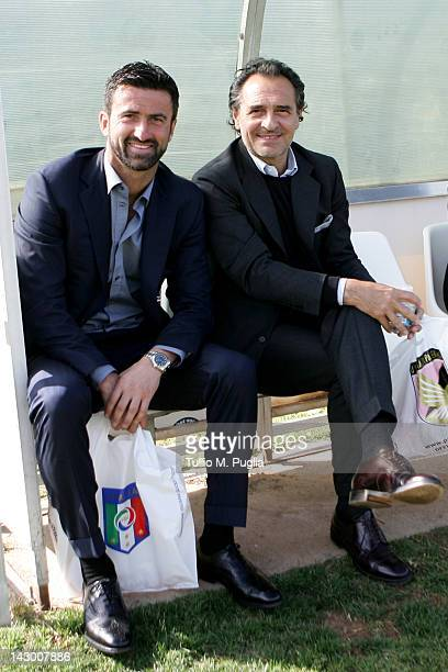 Italy head coach Cesare Prandelli and technical director of Palermo Christian Panucci pose during a visit to the US Citta di Palermo training ground...