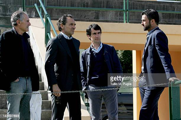 Italy head coach Cesare Prandelli and technical director of Palermo Christian Panucci attend US Citta di Palermo training ground on April 17 2012 in...
