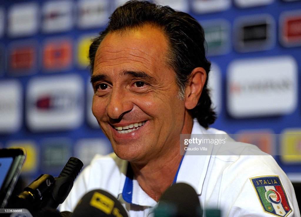 Italy head coach <a gi-track='captionPersonalityLinkClicked' href=/galleries/search?phrase=Cesare+Prandelli&family=editorial&specificpeople=742442 ng-click='$event.stopPropagation()'>Cesare Prandelli</a> during a press conference at Coverciano on August 29, 2011 in Florence, Italy.