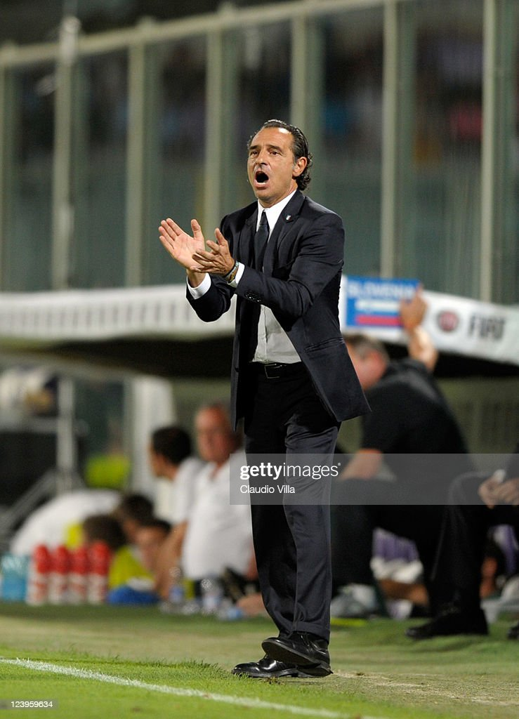 Italy head coach Cesare Prandelli reacts from the sideline during the EURO 2012 Qualifier match between Italy and Slovenia at Stadio Artemio Franchi on September 6, 2011 in Florence, Italy.