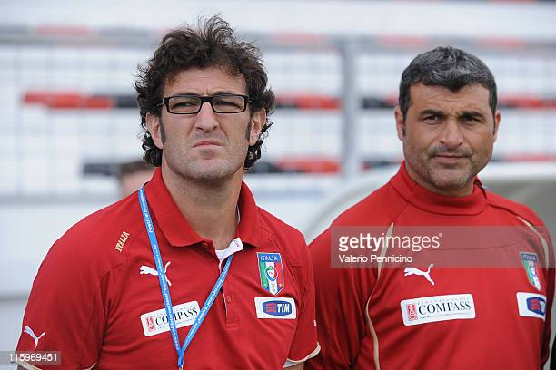 Italy head coach Ciro Ferrara and Angelo Peruzzi look on prior to the Toulon U21 tournament match between Italy and Mexico at Felix Mayol Stadium on...