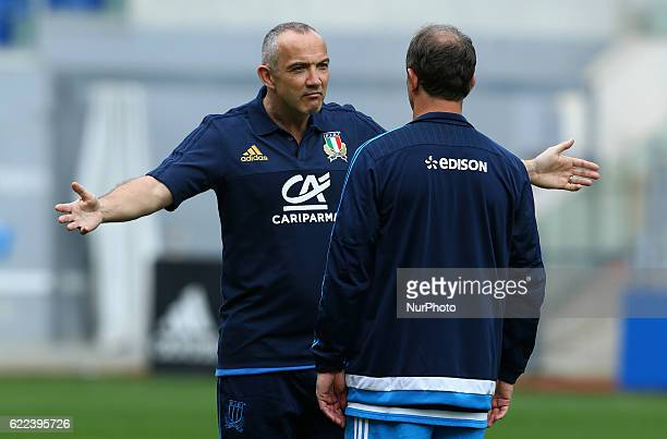 Italy head coach Conor O Shea with the defensive skills coach Brendan Venter at Olimpico Stadium in Rome Italy on November 11 2016 during a session...