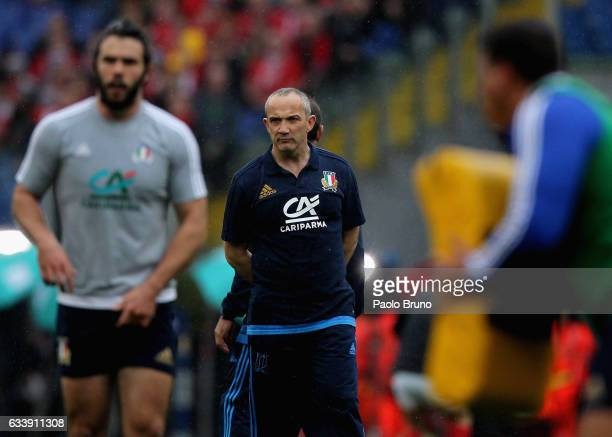 Italy head coach Conor O'Shea looks on before the RBS Six Nations match between Italy and Wales at Stadio Olimpico on February 5 2017 in Rome Italy