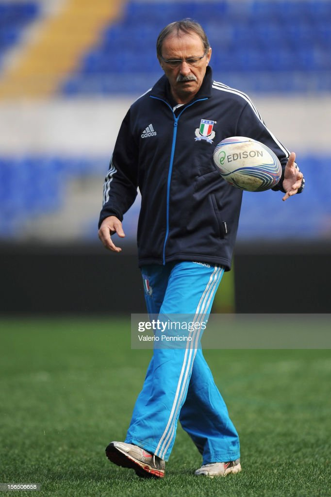 Italy head coach Jacques Brunel attends a training session at Stadio Olimpico on November 16, 2012 in Rome, Italy.