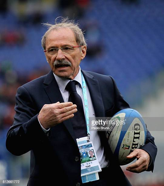 Italy head coach Jacques Brunel gestures before the RBS Six Nations match between Italy and Scotland at Stadio Olimpico on February 27 2016 in Rome...