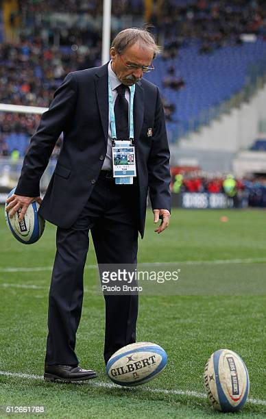 Italy head coach Jacques Brunel kicks the ball before the RBS Six Nations match between Italy and Scotland at Stadio Olimpico on February 27 2016 in...