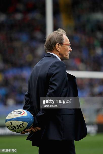 Italy head coach Jacques Brunel looks on before the RBS Six Nations match between Italy and Scotland at Stadio Olimpico on February 27 2016 in Rome...