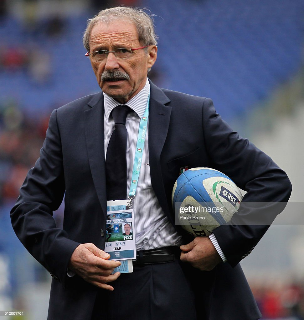 Italy head coach <a gi-track='captionPersonalityLinkClicked' href=/galleries/search?phrase=Jacques+Brunel&family=editorial&specificpeople=557558 ng-click='$event.stopPropagation()'>Jacques Brunel</a> looks on before the RBS Six Nations match between Italy and Scotland at Stadio Olimpico on February 27, 2016 in Rome, Italy.