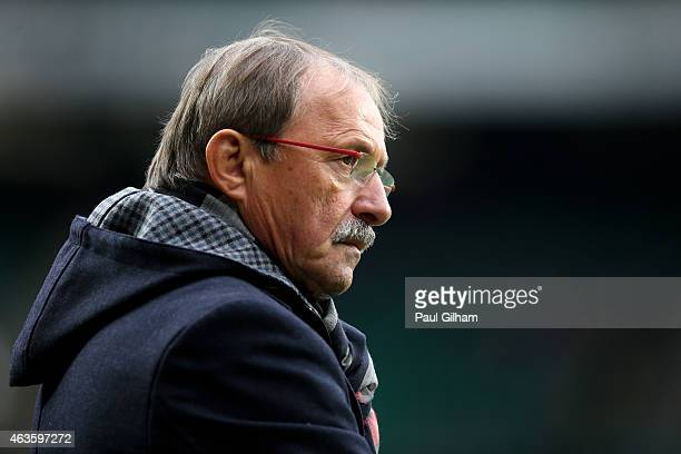 Italy head coach Jacques Brunel looks on during the RBS Six Nations match between England and Italy at Twickenham Stadium on February 14 2015 in...