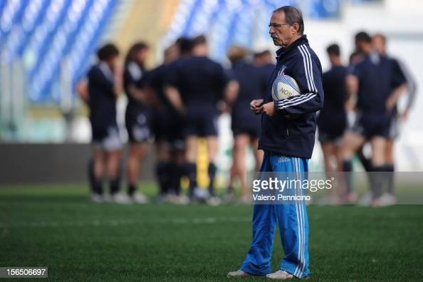 Italy head coach Jacques Brunel oversees a training session at Stadio Olimpico on November 16 2012 in Rome Italy