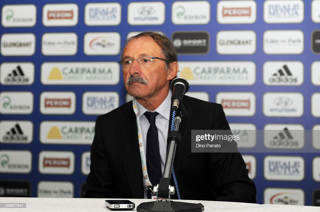 Italy head coach Jacques Brunel speak to the media during a press conference after the international test match between Italy and Tonga at Mario Rigamonti Stadium on November 10, 2012 in Brescia, Italy.