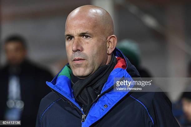 Italy head coach Luigi Di Biagio looks on during the International Friendly match between Italy U21 and Denmark U21 at Stadio Atleti Azzurri d'Italia...