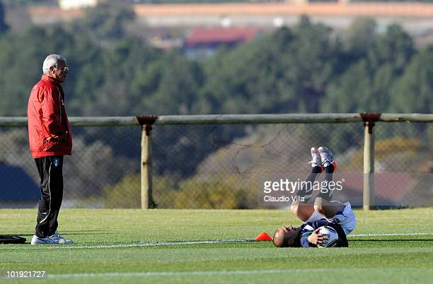 Italy Head Coach Marcello Lippi and Fabio Cannavaro during the Italy Training on June 9 2010 in Centurion South Africa