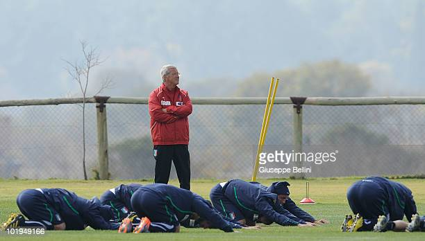 Italy head coach Marcello Lippi and his team during training on June 10 2010 in Centurion South Africa