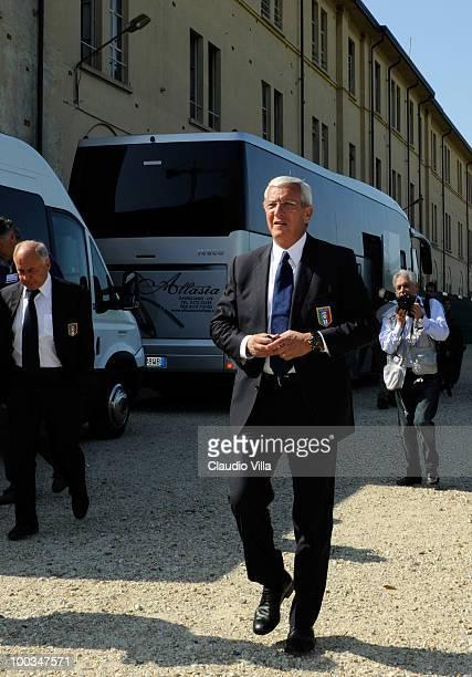 Italy Head Coach Marcello Lippi arrives for the Italian team training camp on May 23 2010 in Venaria Reale Italy