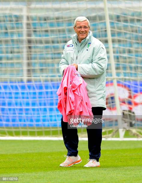 Italy Head Coach Marcello Lippi during an Italy team training session at the Dino Manuzzi Stadium on November 17 2009 in Cesena Italy