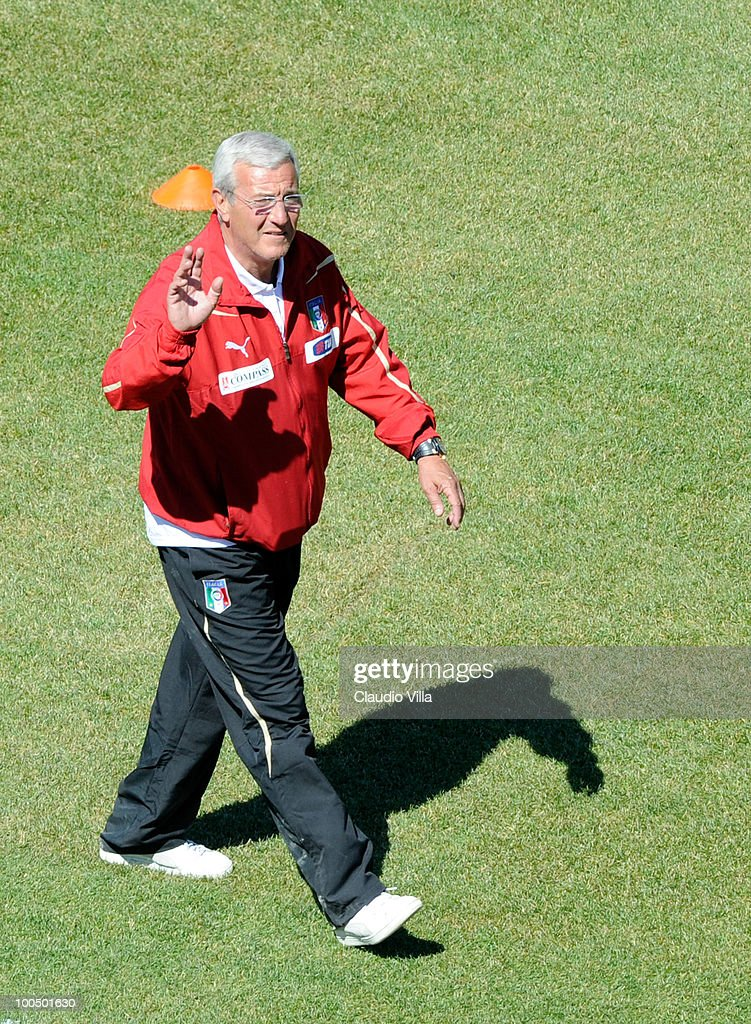 Italy Head Coach Marcello Lippi during the Italy Training Session on May 25, 2010 in Sestriere near Turin, Italy.