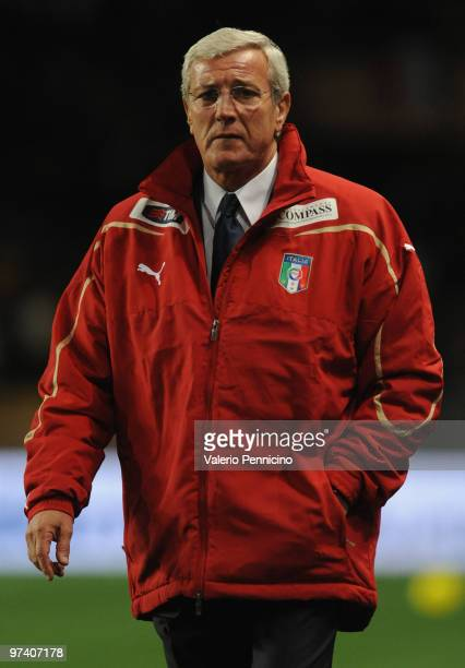 Italy head coach Marcello Lippi looks on during the International Friendly match between Italy and Cameroon at Louis II Stadium on March 3 2010 in...